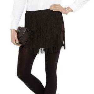 Theory Tialla Fringed Stretch Silk Skirt